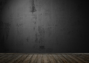 Sehr dunkler leerer Raum