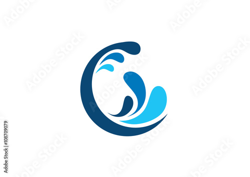 Circle Wave Water Logo Circle Water Splash Letter C Symbol Icon