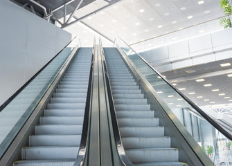 Escalator room with glass
