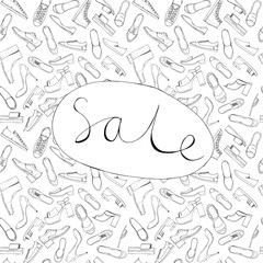 Hand drawn sketch seamless pattern of Shoes - running shoes sneakers, boots, ballet flats, flip flops, tractor sole shoes, loafer with lettering Sale. Coloring book