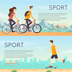 Physical activity people engaged in outdoor sports, cycling, skateboarding, summer. Flat design vector illustration. Banners.