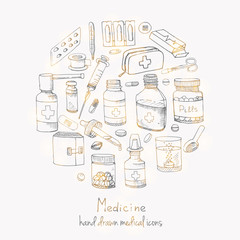 Set of health care and medicine hand drawn icons Doodle medical elements Vector background with wellness freehand drawings Vector sketch illustration Drugs icons Pills Capsules Prescription bottles