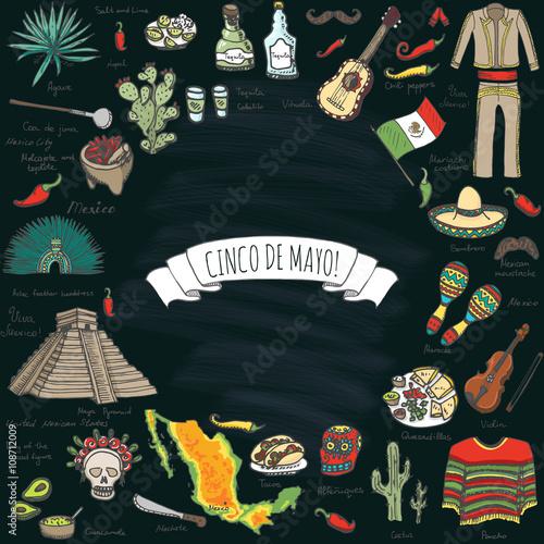 cinco de mayo hand drawn cartoon collection doodle mexico set vector illustration sketchy mexican food icons