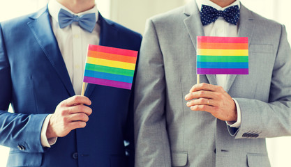 close up of male gay couple holding rainbow flags