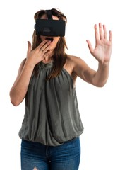 Young girl using VR glasses
