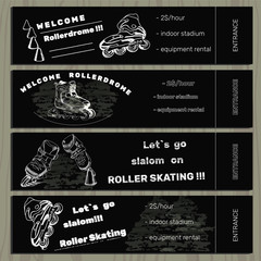 set hand drawn tickets on Rollerdrom with Roller Skate on chalk