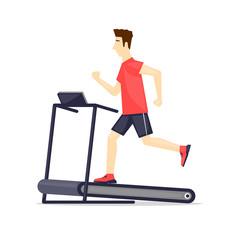 Young adult man running on treadmill, sport, fitness, athletics, healthy lifestyle. Cartoon. Vector illustration flat design.