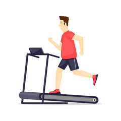 Young fat man running on treadmill, sport, fitness, athletics, healthy lifestyle. Cartoon. Vector illustration flat design.