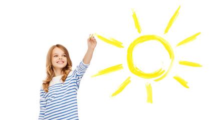 girl drawing big sun in the air