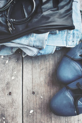 Set fashion of shoes with jeans jacket and leather bracelet