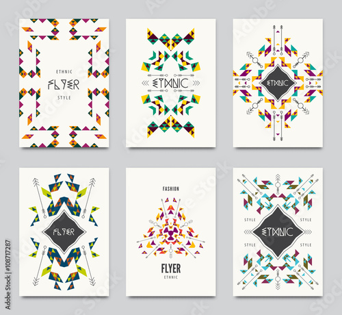 Geometric Colorful Ethnic Flyers Vector Abstract Background