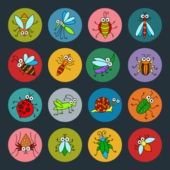 Set of vector funny insects icons