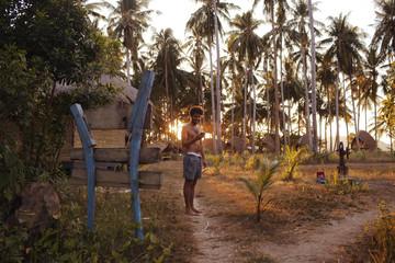 Coucher de soleil près des cocotiers