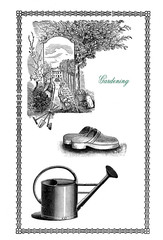 Vintage frame about gardening, tools, watering can and garden clogs
