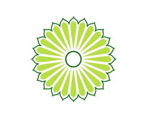 Green Ornamental Circle Sun Flower
