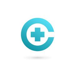 Letter C cross plus logo icon design template elements