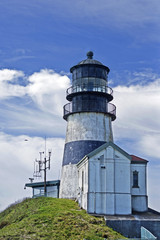 Cape Disappointment light house at the Columbia river and Pacific Ocean