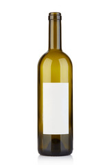 Empty opened wine bottle with blank label on white, clipping path