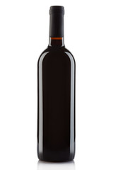 Red wine bottle isolated on white, clipping path
