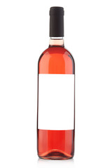 Rose wine bottle with blank label on white, clipping path