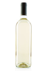 White wine bottle on white, clipping path