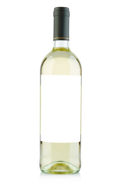 White wine bottle with blank label on white, clipping path