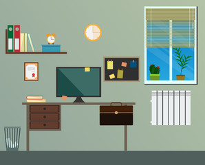 Workplace room interior vector set background