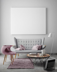 mock up blank poster on the wall of livingroom, 3D render
