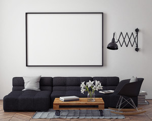 mock up poster with modern loft interior background, 3D render