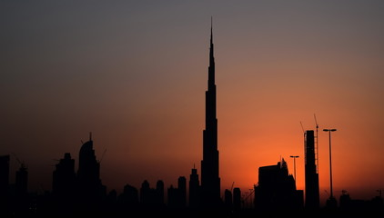 Business Bay and Burj Khalifa area in sunset, Dubai, United Arab Emirates