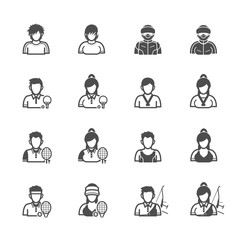 People and Sport Player Icons with White Background