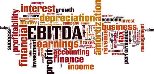 EBITDA word cloud concept. Vector illustration