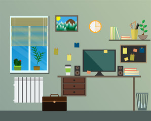 Flat modern design workplace in room.