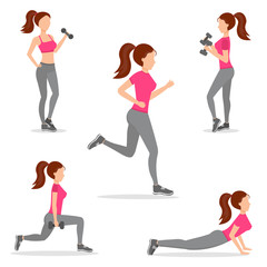 Woman home fitness set vector illustration