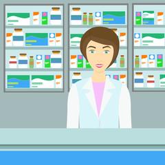Medical infographics. Vertor tools and pills set
