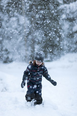 Boy walking at winter