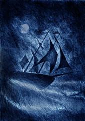 sailing ship at dusk