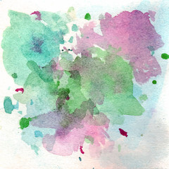 Hand drawn abstract background with watercolor stains.