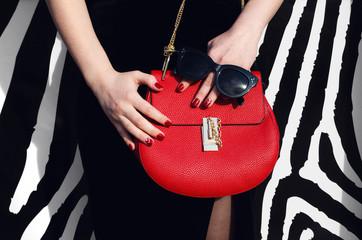 Wall Mural - fashionable woman hold red handbag sunglasses