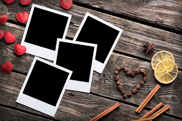 Four blank instant photo frames with heart