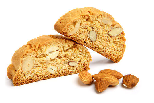 Italian cantuccini cookie with almond filling. Isolated on white background.