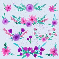 Watercolor flower laurel wreath set with butterfly. Watercolor Flower Wreath.