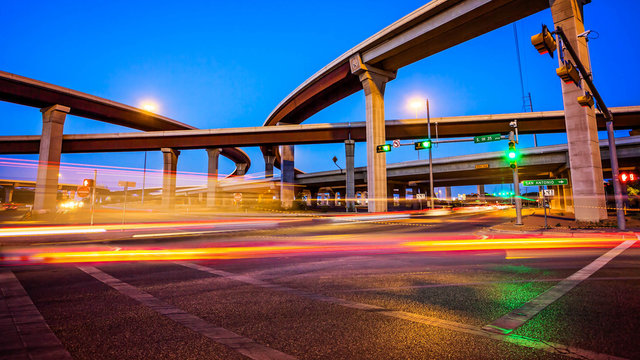 Intersection and Traffic in Austin, Texas at Night