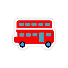paper sticker British double-decker bus on white background