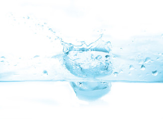 Water splash / Water splash on white background. Blue tone.