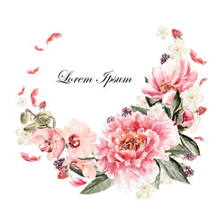 Beautiful watercolor card with Peony, orchid, roses flower and berries.