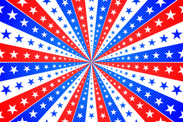 American Background with Stars and Stripes in Red, White and Blue