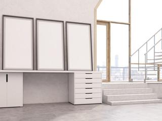 Three blank frames in interior