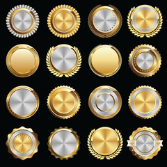 Set of Gold and Silver Certificate Seals and Badges