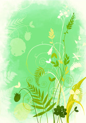 Background bright green with floral motifs